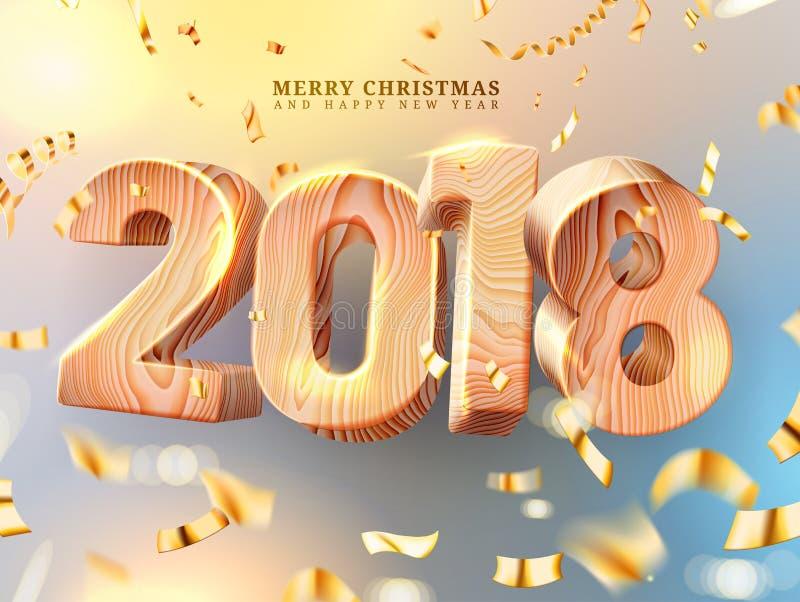 Décorations de Joyeux Noël et de bonne année 2018 nombres 3d en bois avec la texture en bois Descripteur de carte de voeux Feuill illustration libre de droits