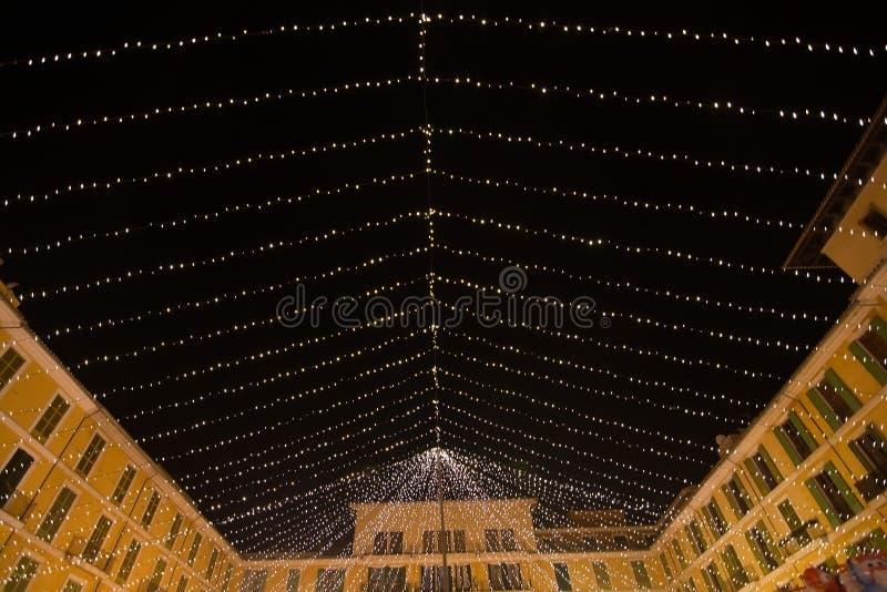 Décorations de lumière de maire Christmas de plaza photographie stock