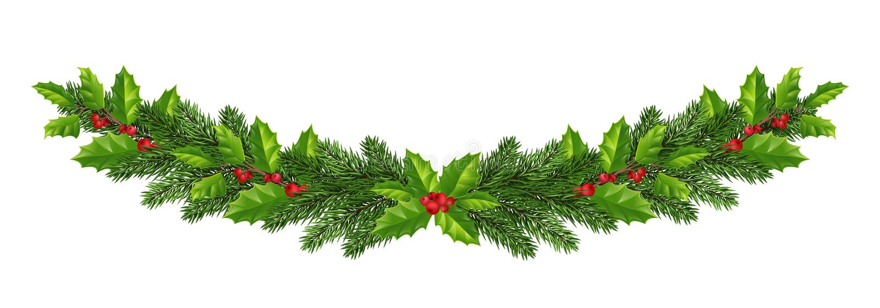 Décorations de Noël avec l'arbre de sapin, le houx, les baies et le decorat illustration stock