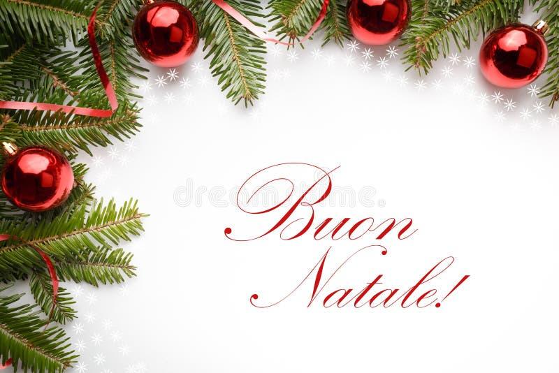 Décorations de Noël avec le ` de Buon Natale de ` de salutation en italien photographie stock