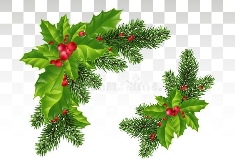 Décorations de Noël : Branches et houx d'arbre de Noël avec les baies rouges Composition de fête D'isolement Vecteur Eps10 illustration de vecteur