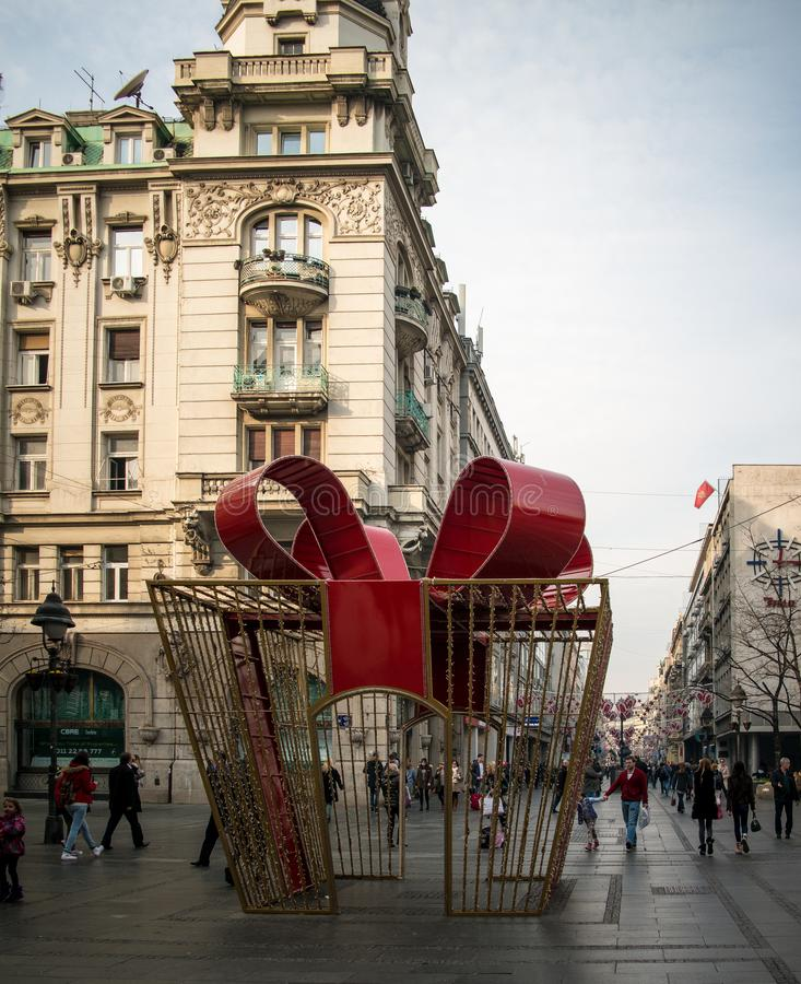 Décorations de Noël dans la scène de ville photos libres de droits