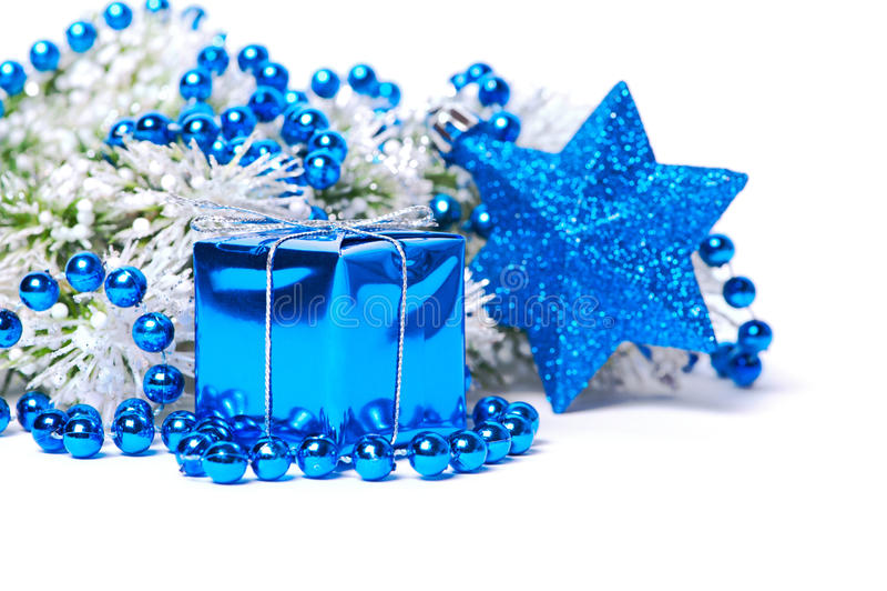 Décorations de Noël dans le bleu images libres de droits