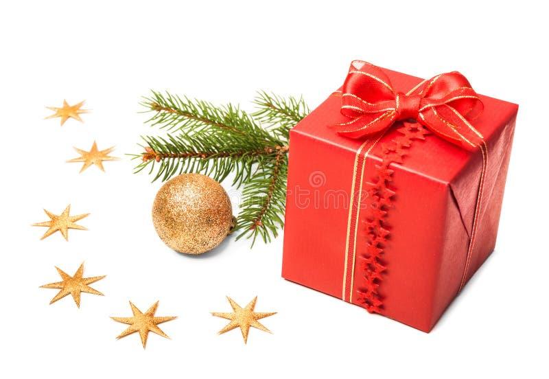 Décorations de Noël sur le fond blanc image stock