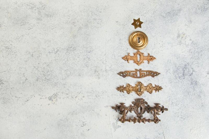 Décorations de Noël sur le fond concret image stock
