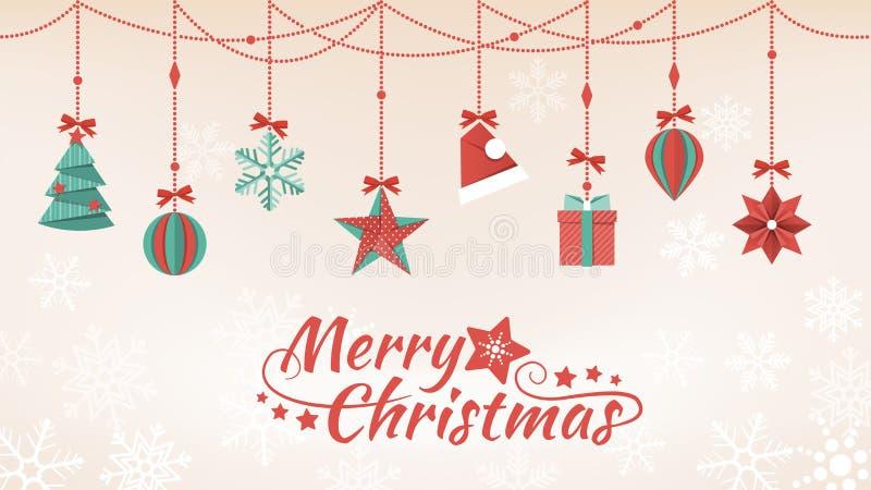 Décorations de papier de Noël illustration de vecteur