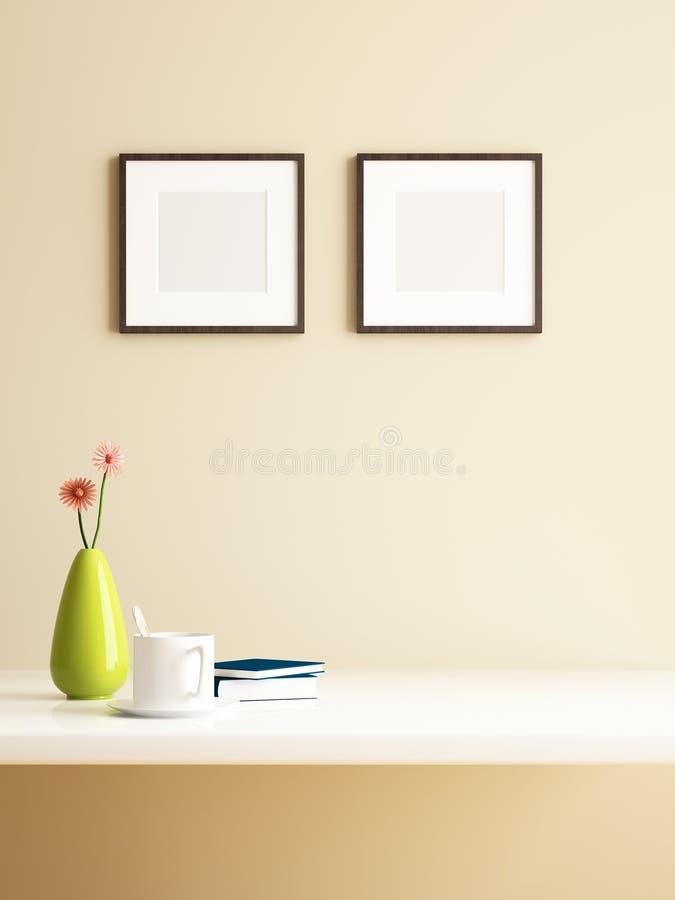 Décorations de photo de fleur et de cadre de vase illustration stock
