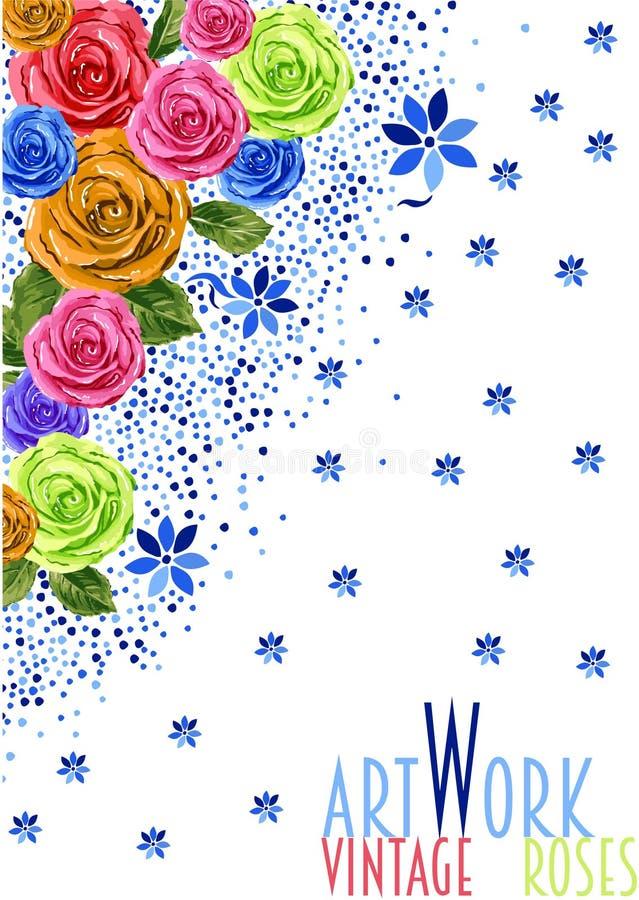 Décorations de roses de vintage d'illustration gentilles illustration de vecteur