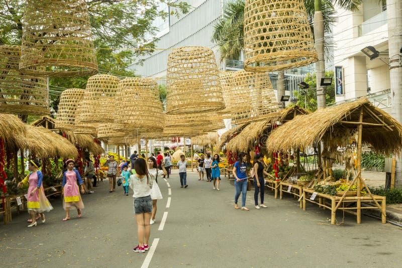 Décorations de rue en ville de Ho Chi MInh images libres de droits