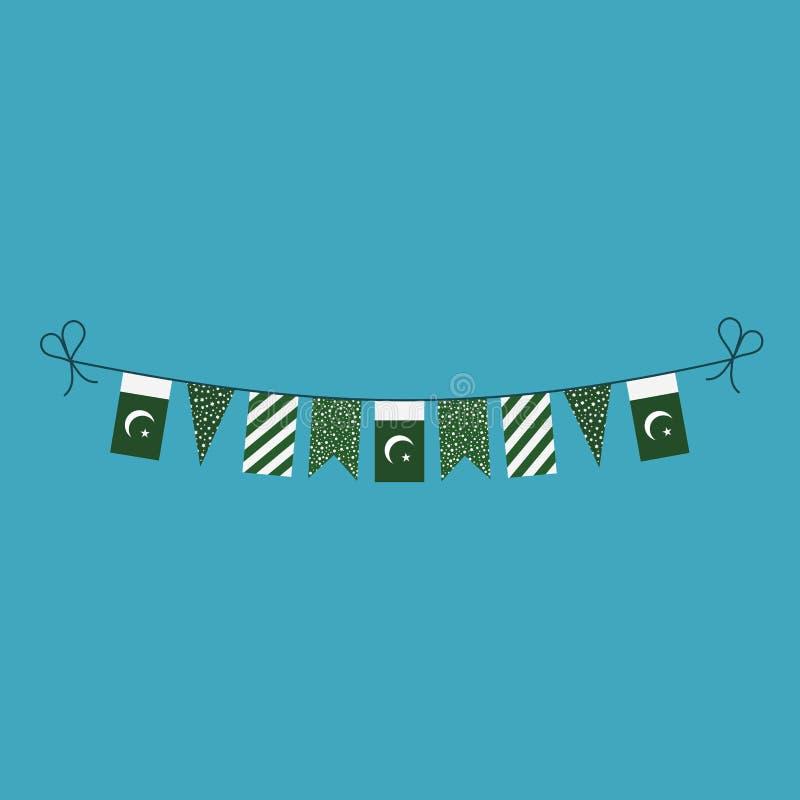 Décorations donnant un petit coup des drapeaux pour des vacances de jour national du Pakistan dans la conception plate illustration de vecteur