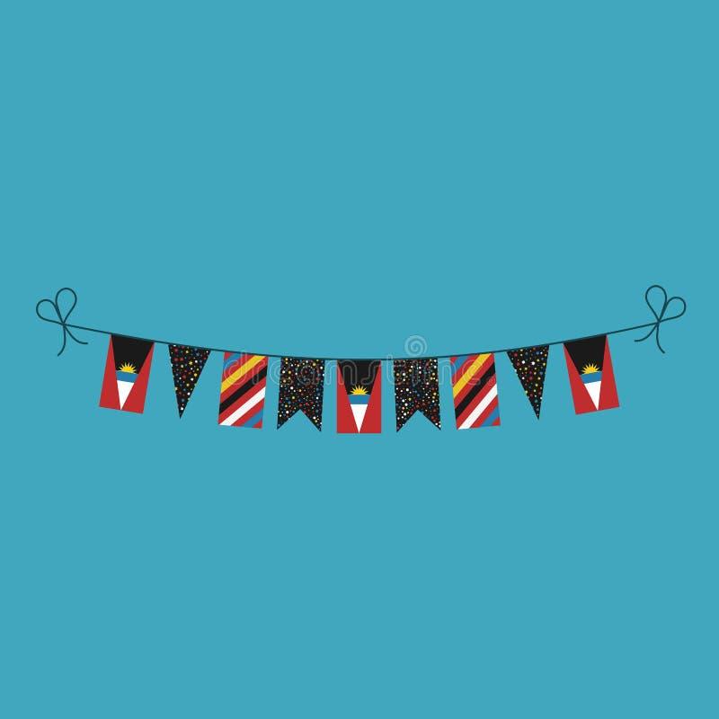 Décorations donnant un petit coup des drapeaux pour des vacances de jour national de l'Antigua-et-Barbuda dans la conception plat illustration de vecteur