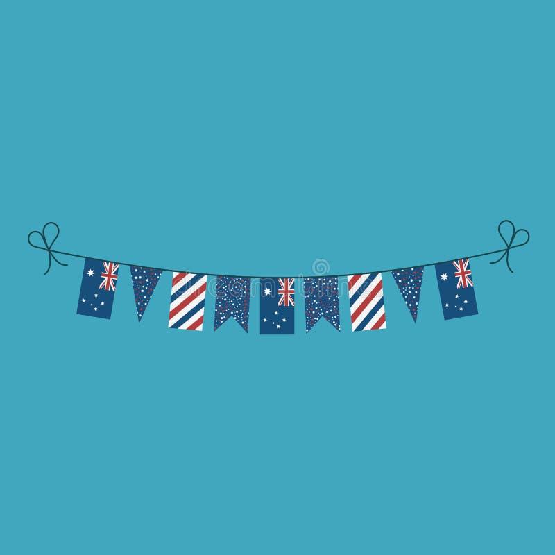Décorations donnant un petit coup des drapeaux pour des vacances de jour national de l'Australie dans la conception plate illustration libre de droits
