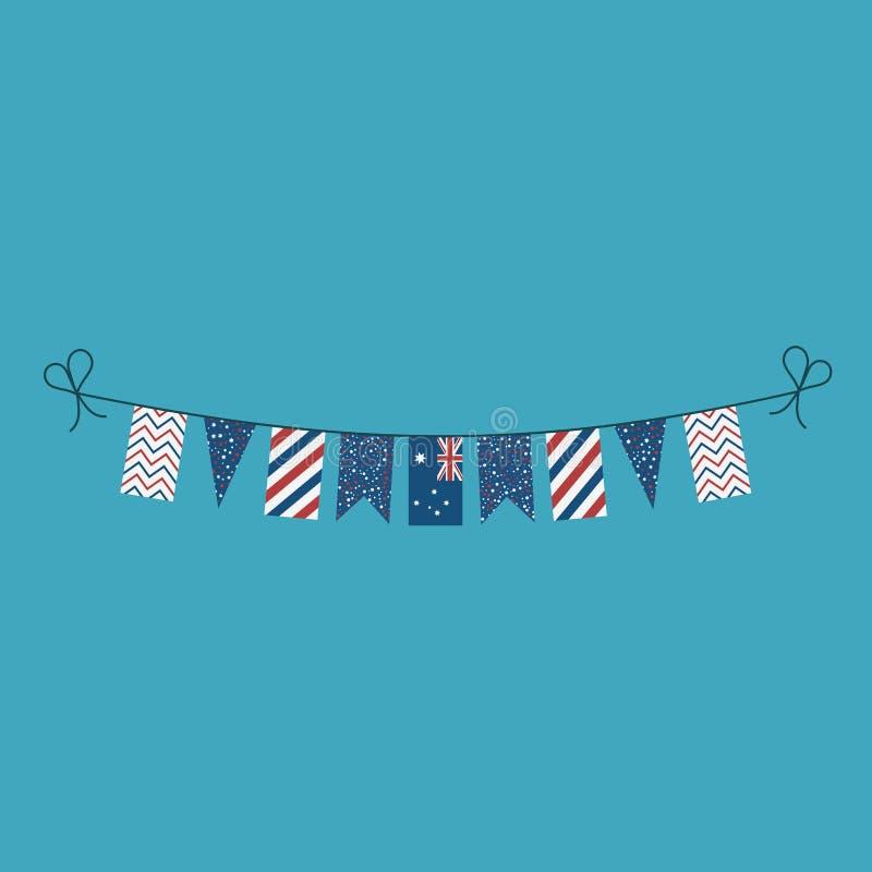 Décorations donnant un petit coup des drapeaux pour des vacances de jour national de l'Australie dans la conception plate illustration de vecteur