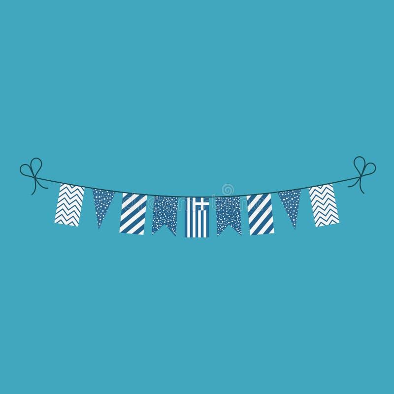Décorations donnant un petit coup des drapeaux pour des vacances de jour national de la Grèce dans la conception plate illustration libre de droits