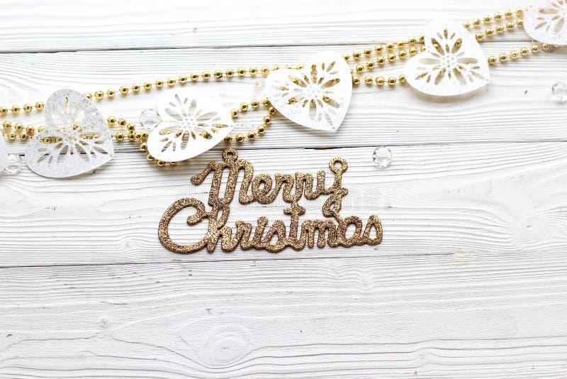 Décorations et inscription de vacances : Joyeux Noël photo stock