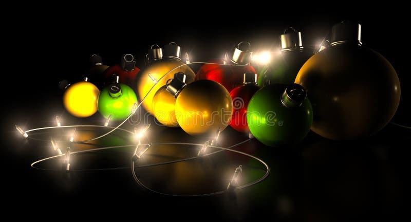 Décorations et lumières de Noël illustration de vecteur