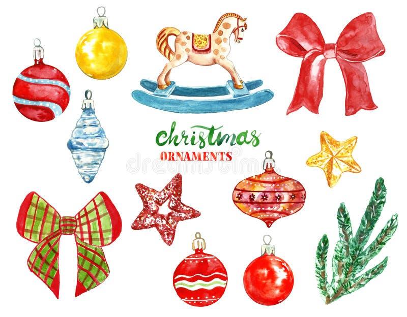 Décorations et ornements d'arbre de Noël de cru d'aquarelle boules en verre peintes à la main, rubans, étoiles, cheval de bascula illustration libre de droits