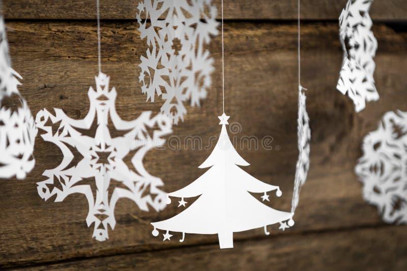 Décorations flocon de neige, la pose de papier peint de Noël d'arbre de Noël photographie stock libre de droits