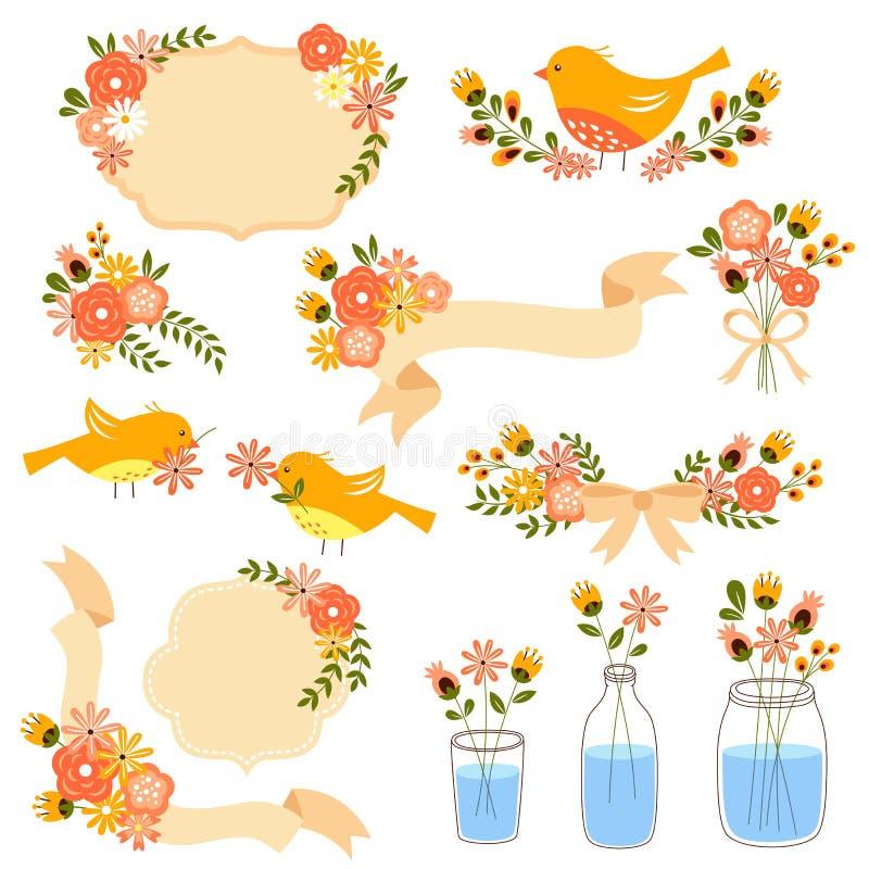 Décorations florales illustration de vecteur