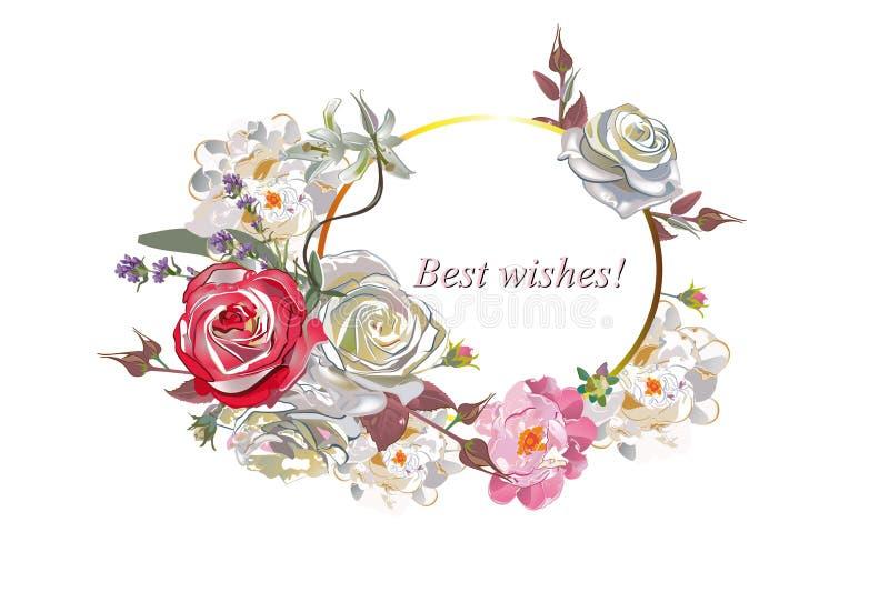 Décorations florales avec des pivoines, des roses et des dahlias illustration libre de droits
