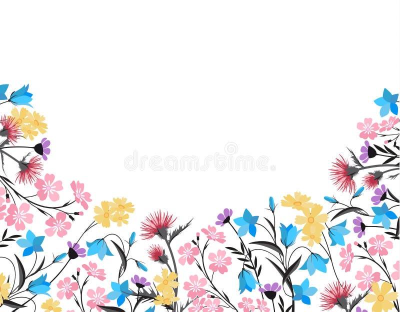 Décorations florales d'été illustration de vecteur