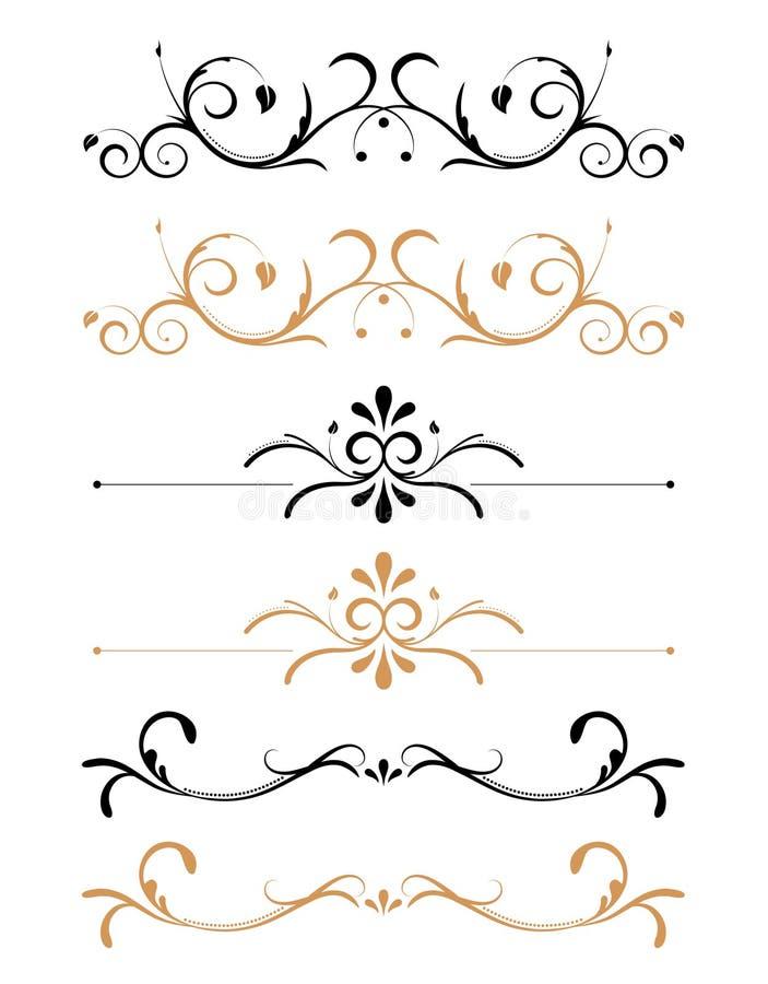 Décorations florales ornementales de page illustration stock