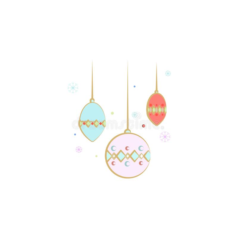 décorations, icône d'arbre de Noël Élément de Noël pour les apps mobiles de concept et de Web Décorations colorées, illust d'arbr illustration libre de droits