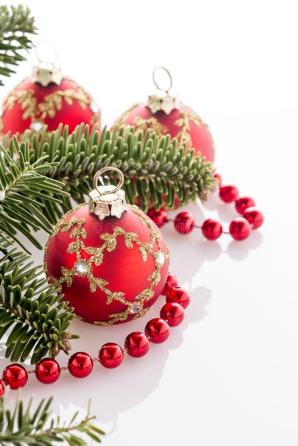 Décorations rouges de Noël photographie stock libre de droits