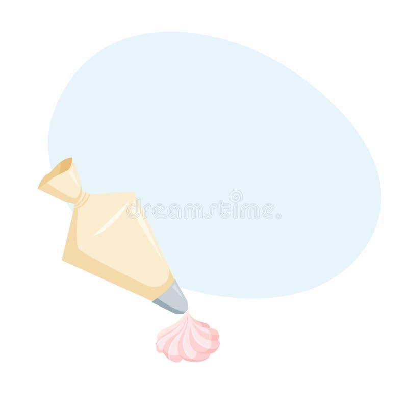 Décorez les gâteaux avec la crème fouettée illustration stock