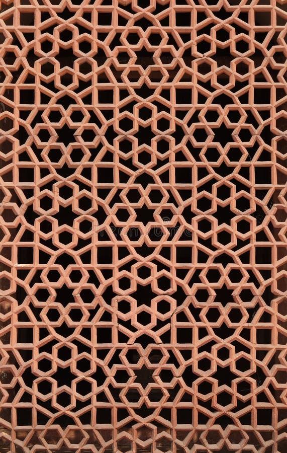 Découpage complexe du gril de fenêtre en pierre à la tombe de Humayuns, Delhi images stock