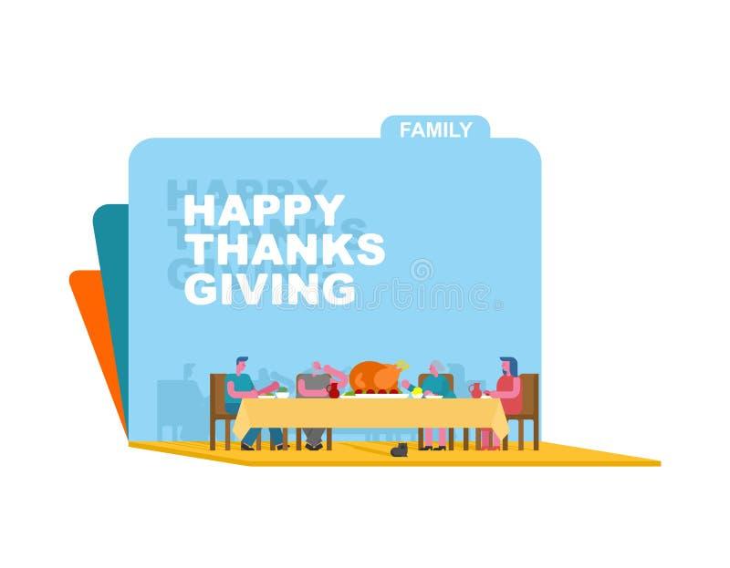 Découpage d'art de papier de dîner de famille de thanksgiving La Turquie sur la grande étiquette illustration de vecteur