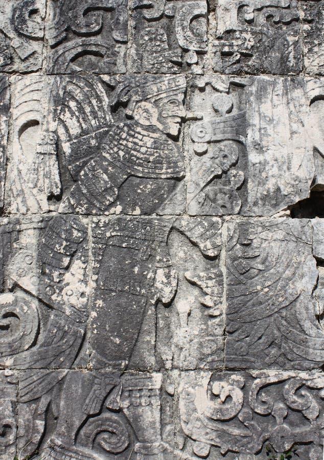 Découpage de bas-relief du guerrier indien, Mexique photographie stock