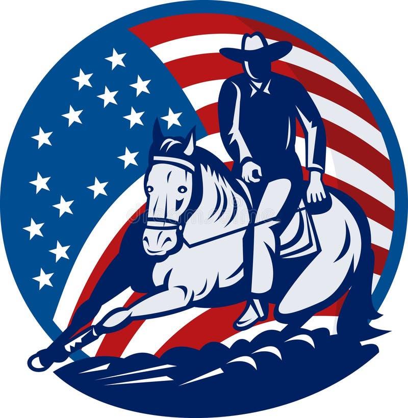 Découpage de cheval de cowboy de rodéo illustration de vecteur