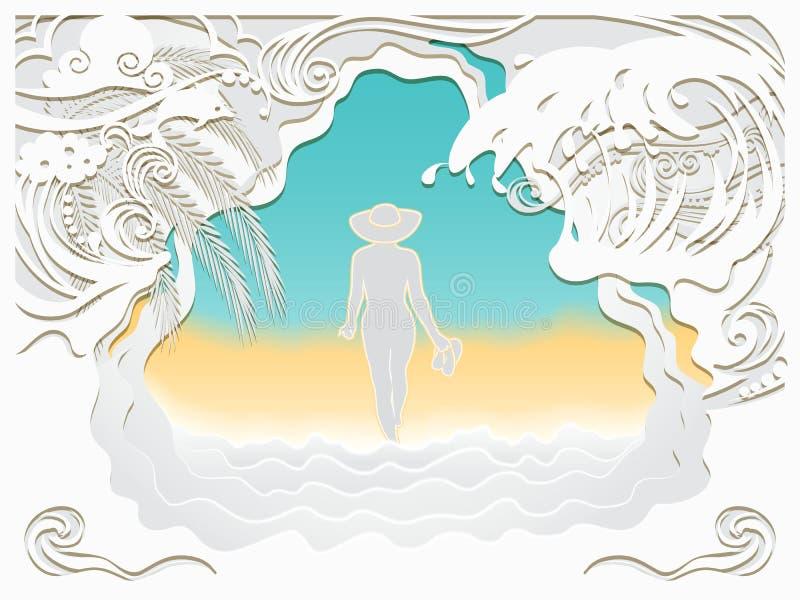 Découpage de papier d'art de la mer illustration stock