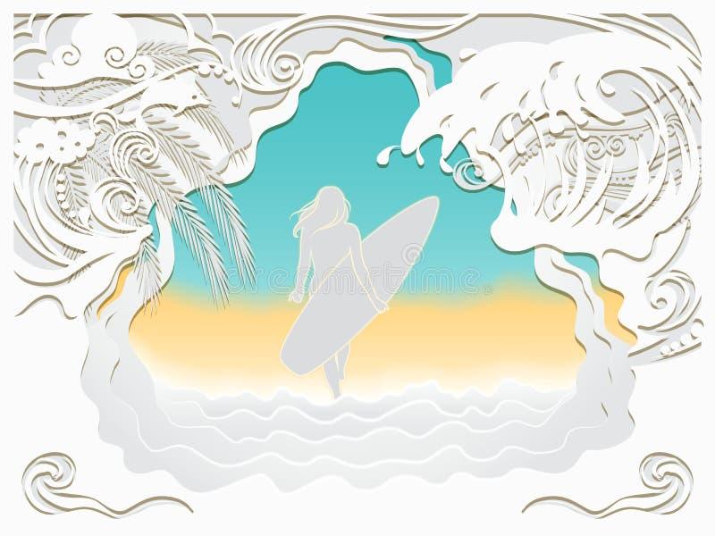 Découpage de papier d'art de la mer illustration de vecteur