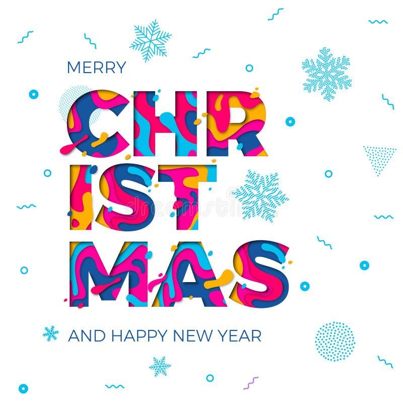 Découpage de papier de vecteur de fond de flocons de neige de carte de voeux de bonne année de Joyeux Noël illustration de vecteur