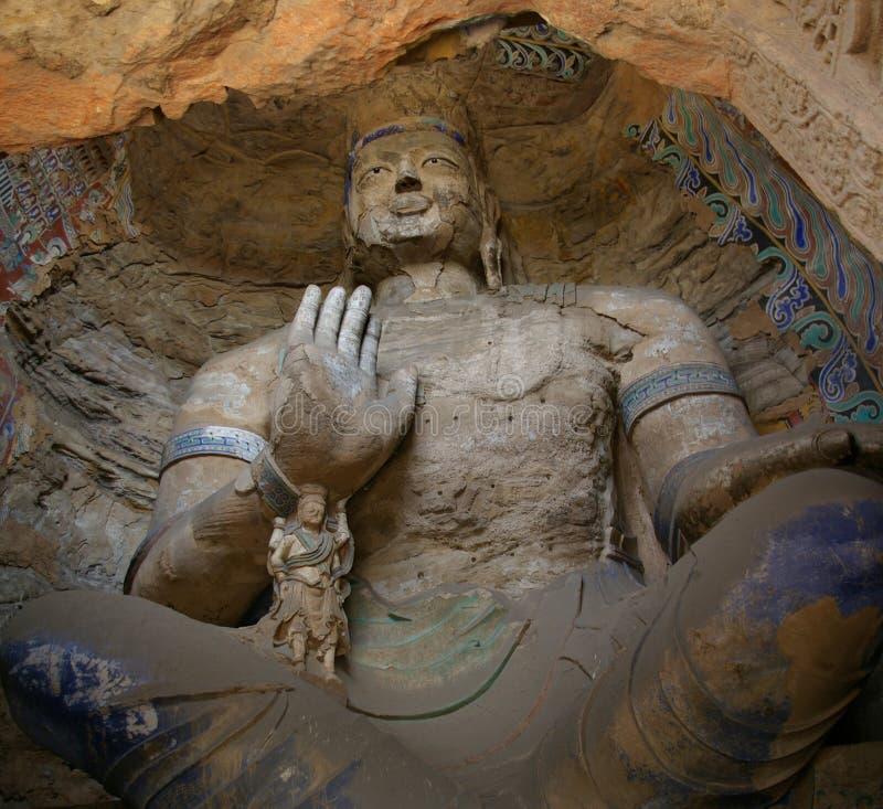 Découpage de pierre de Bouddha des grottes de Yungang images libres de droits
