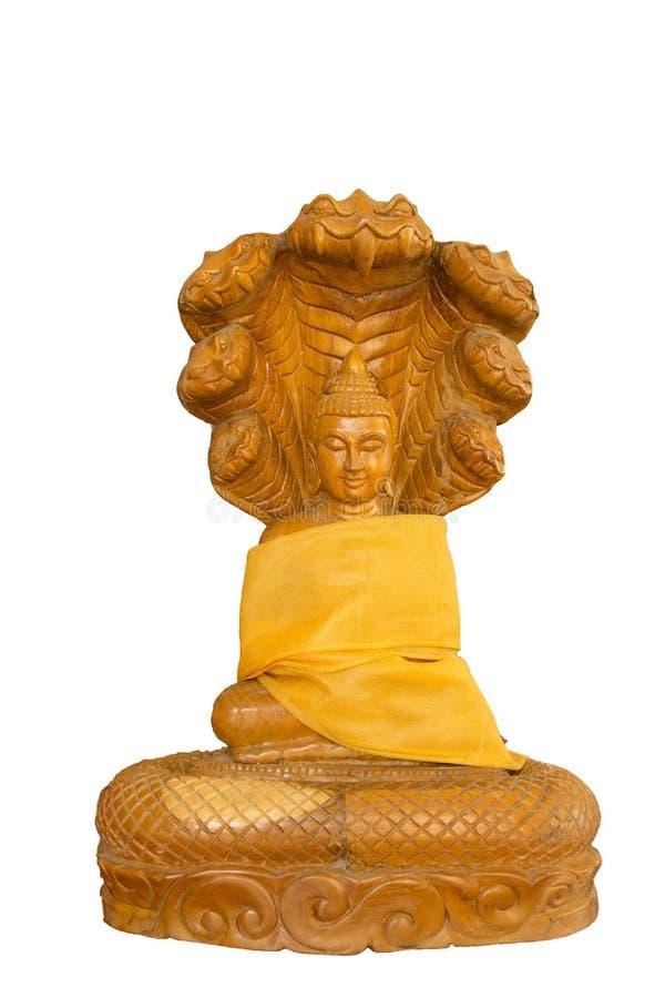Découpage en bois de Bouddha Découpage en bois de style thaïlandais sur le fond blanc photo stock