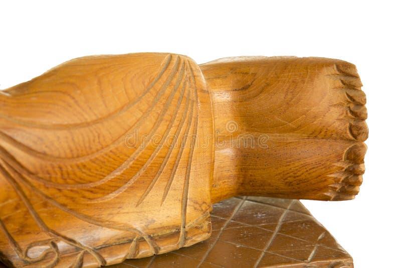 Découpage en bois de Bouddha de pied Découpage en bois de style thaïlandais images libres de droits