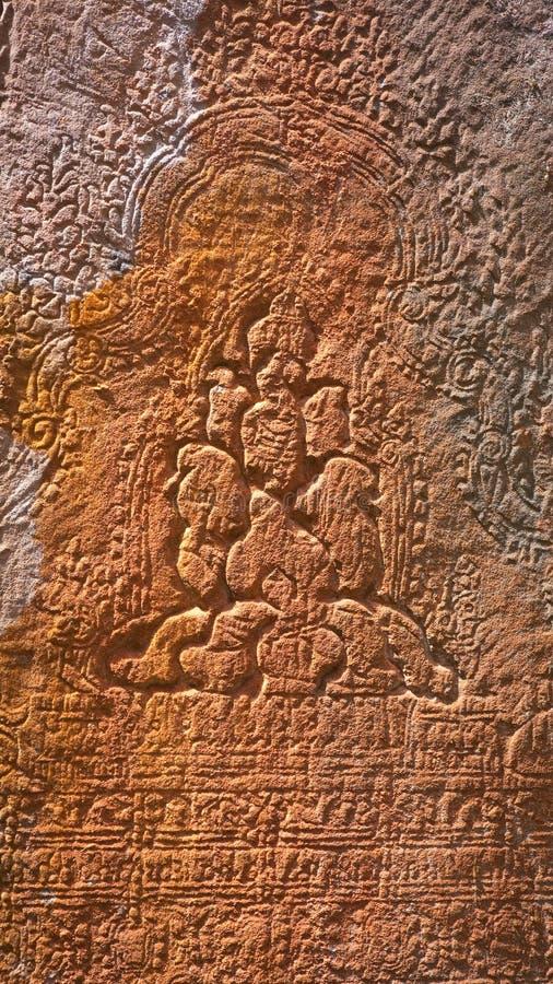 Découpage en pierre au temple de Ta Prohm au Cambodge images libres de droits