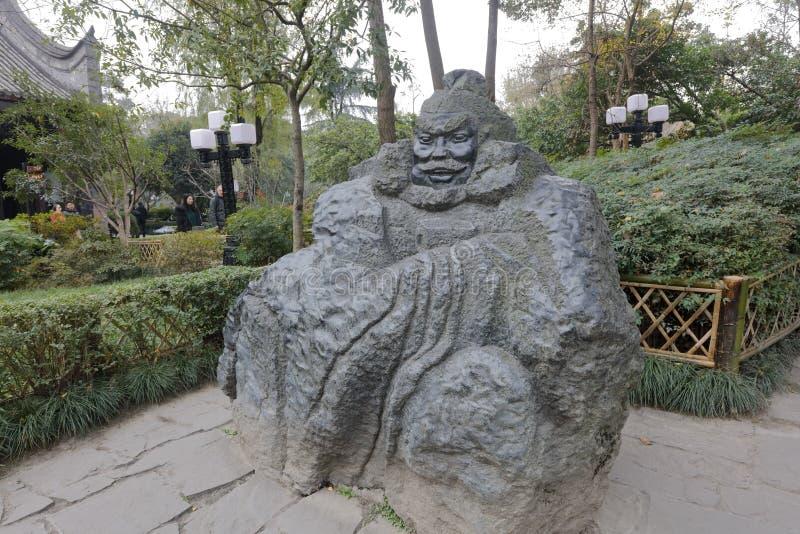 Découpage en pierre de Zhangfei dans le jardin de taoyuan du temple de wuhou, adobe RVB image libre de droits
