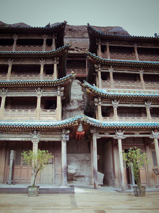 Découpage en pierre des grottes de Yungang photos stock