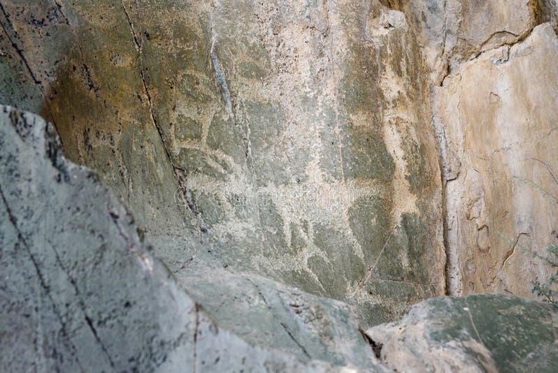 Découpages antiques de roche de pétroglyphes sur des pierres République d'Altai, Russie image stock