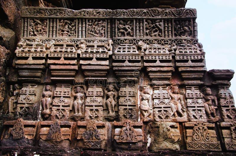 Découpant des détails, temple de Gondeshwar, Sinnar, près de Nashik, maharashtra, Inde images stock