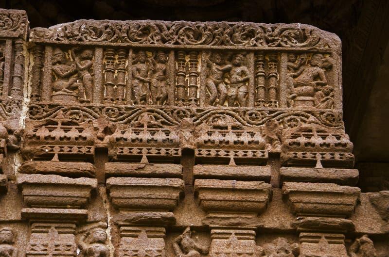Découpant des détails, temple de Gondeshwar, Sinnar, près de Nashik, maharashtra, Inde photo stock
