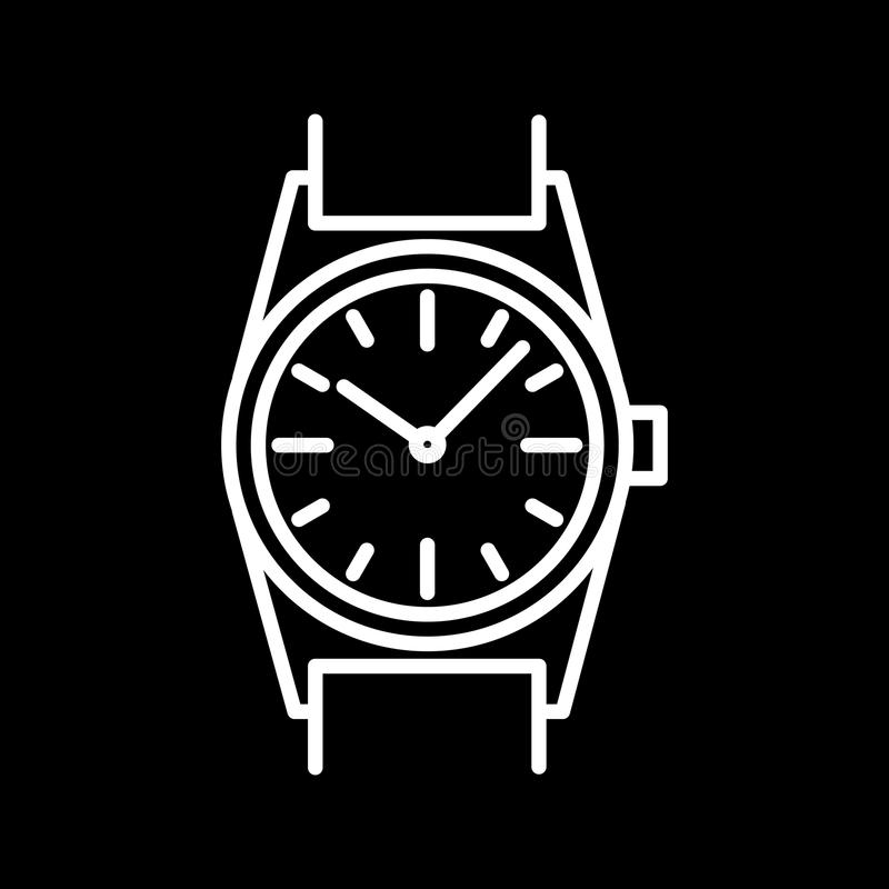 Download Découpe Blanche D'icône De Montre-bracelet Sur Le Fond Noir De L'illustration Illustration Stock - Illustration du horloge, cercle: 87708932