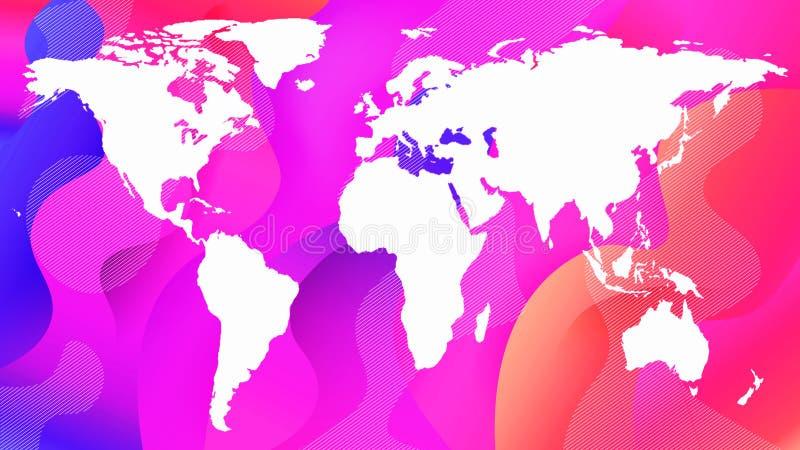 Découpe blanche de la carte de planète sur un résumé rose illustration libre de droits