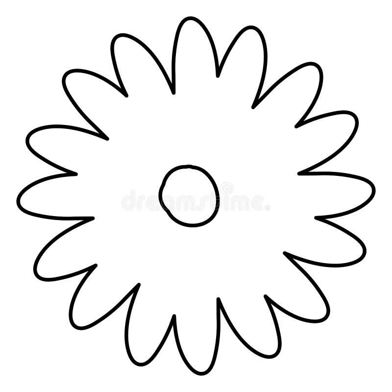Découpe de croquis de fleur de marguerite de dessin de main avec plusieurs pétales illustration libre de droits
