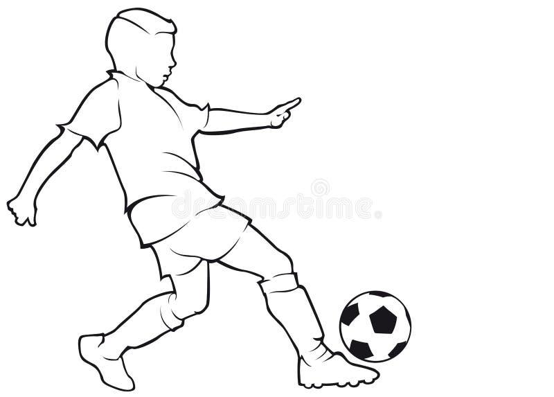 Découpe de footballer de garçon d'isolement sur le blanc photos libres de droits