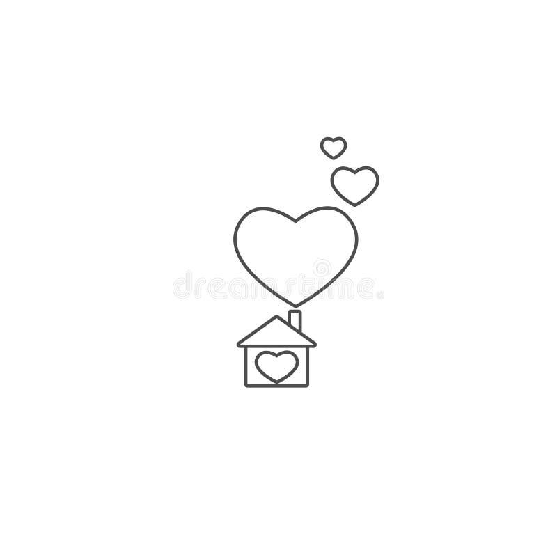 Découpe de noir mat de la maison Silhouette simple de maison avec de grands coeurs sous la cheminée Icône d'isolement illustration stock